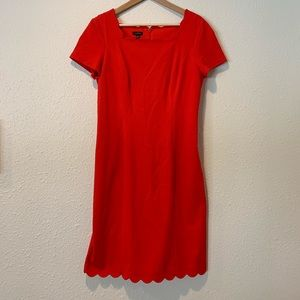 NWOT Talbots red scallop edge dress